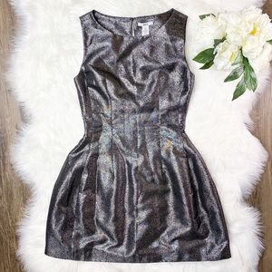• Bar III Silver Shimmer Fit & Flare Dress •